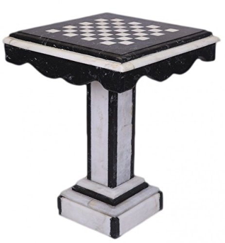 Casa Padrino Luxury Baroque Games Table Chess/Checkers Table Marble Black - White - Furniture Antique Style Art Deco Art Nouveau